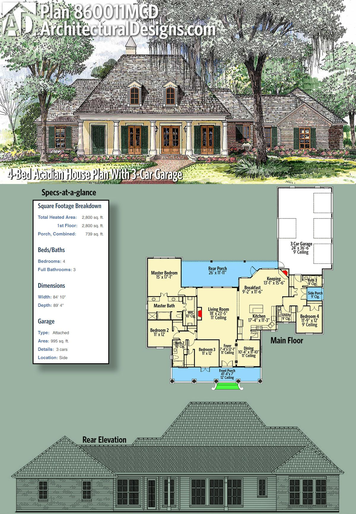 Plan 860011mcd 4 Bed Acadian House Plan With 3 Car Garage Acadian House Plans House Plans Ranch Style House Plans