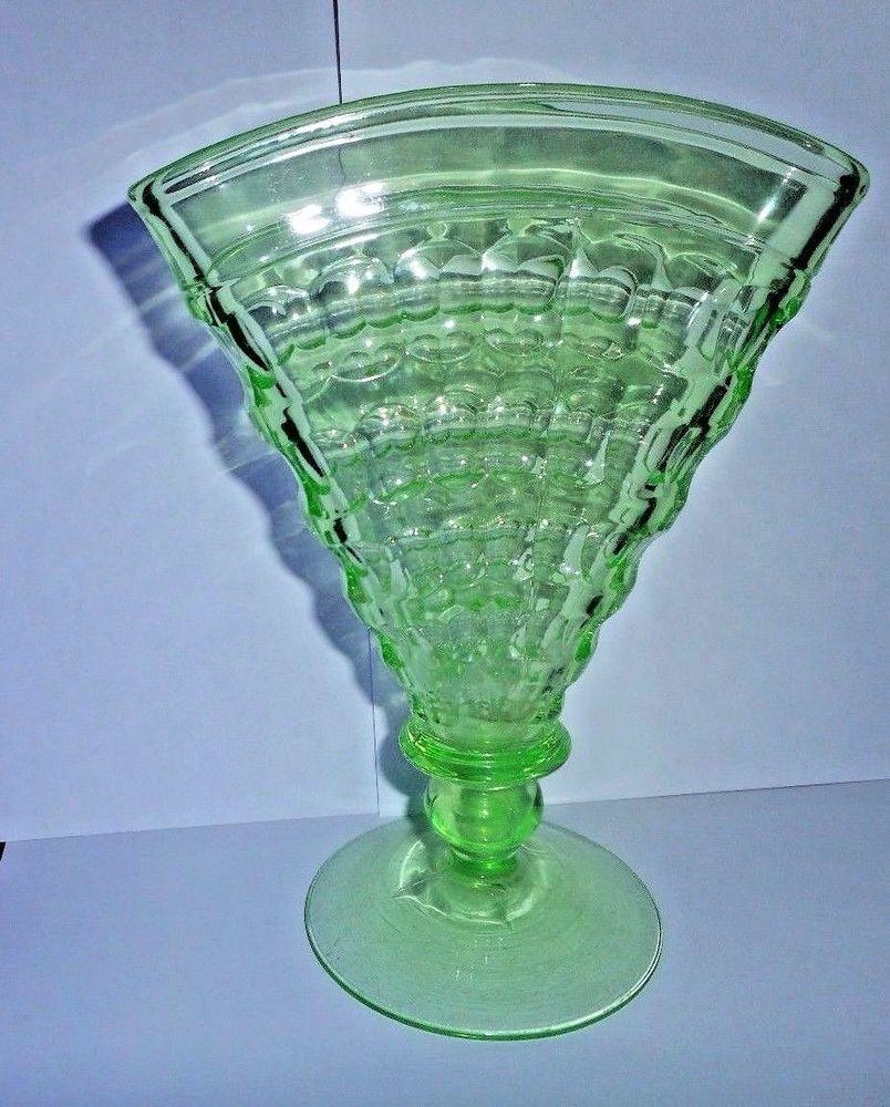 Vintage vaseline uranium green glass vase flared fan vase vintage vaseline uranium green glass vase flared fan vase thumbprint reviewsmspy