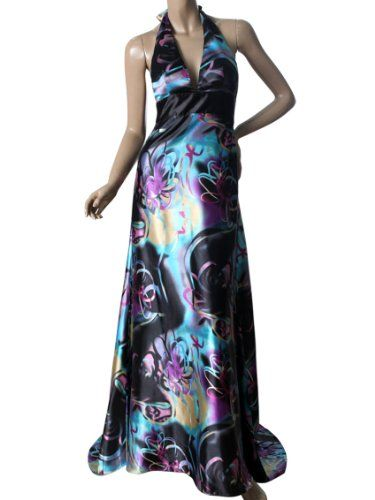 Ever Pretty Open Back Floral Print Halter Sexy Satin Padded Long Prom Dress 09625