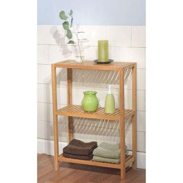 Simple Living Bamboo 3 Tier Shelf Brown Bamboo Shelf Shelves
