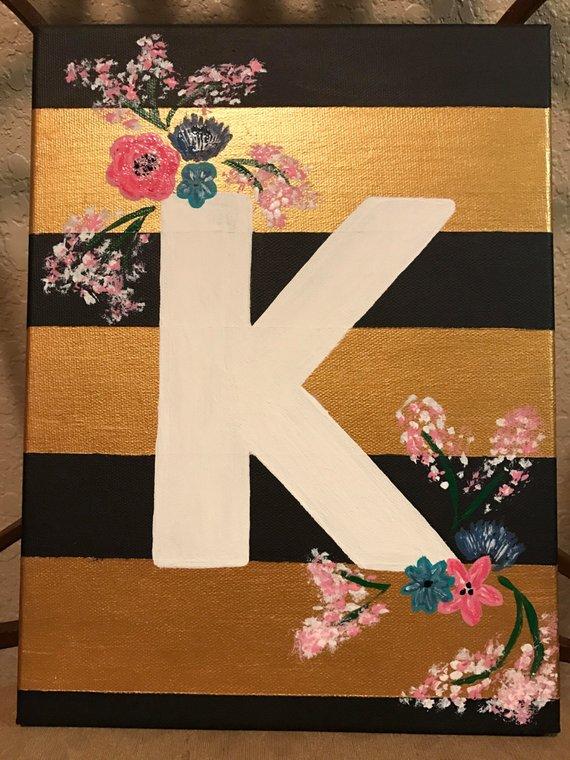 Letter K Painted Canvas Canvas Painting Diy Diy Canvas Art Simple Canvas Paintings