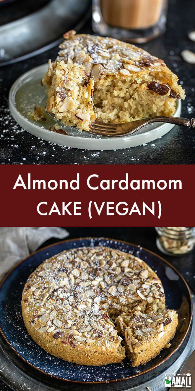 Bursting with flavors of almonds and cardamom, this soft and moist Vegan Almond Cardamom Cake is just what you need with or coffee or tea! with flavors of almonds and cardamom, this soft and moist Vegan Almond Cardamom Cake is just what you need with or coffee or tea!