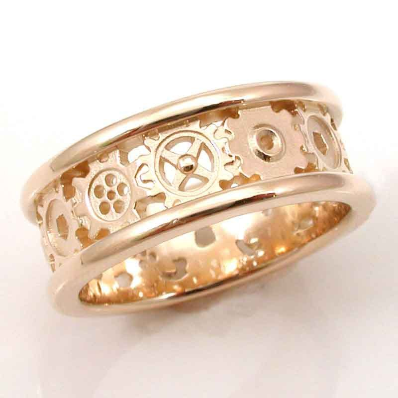 Steampunk Gold Gear Ring Mens Palladium White Gold Wedding Band