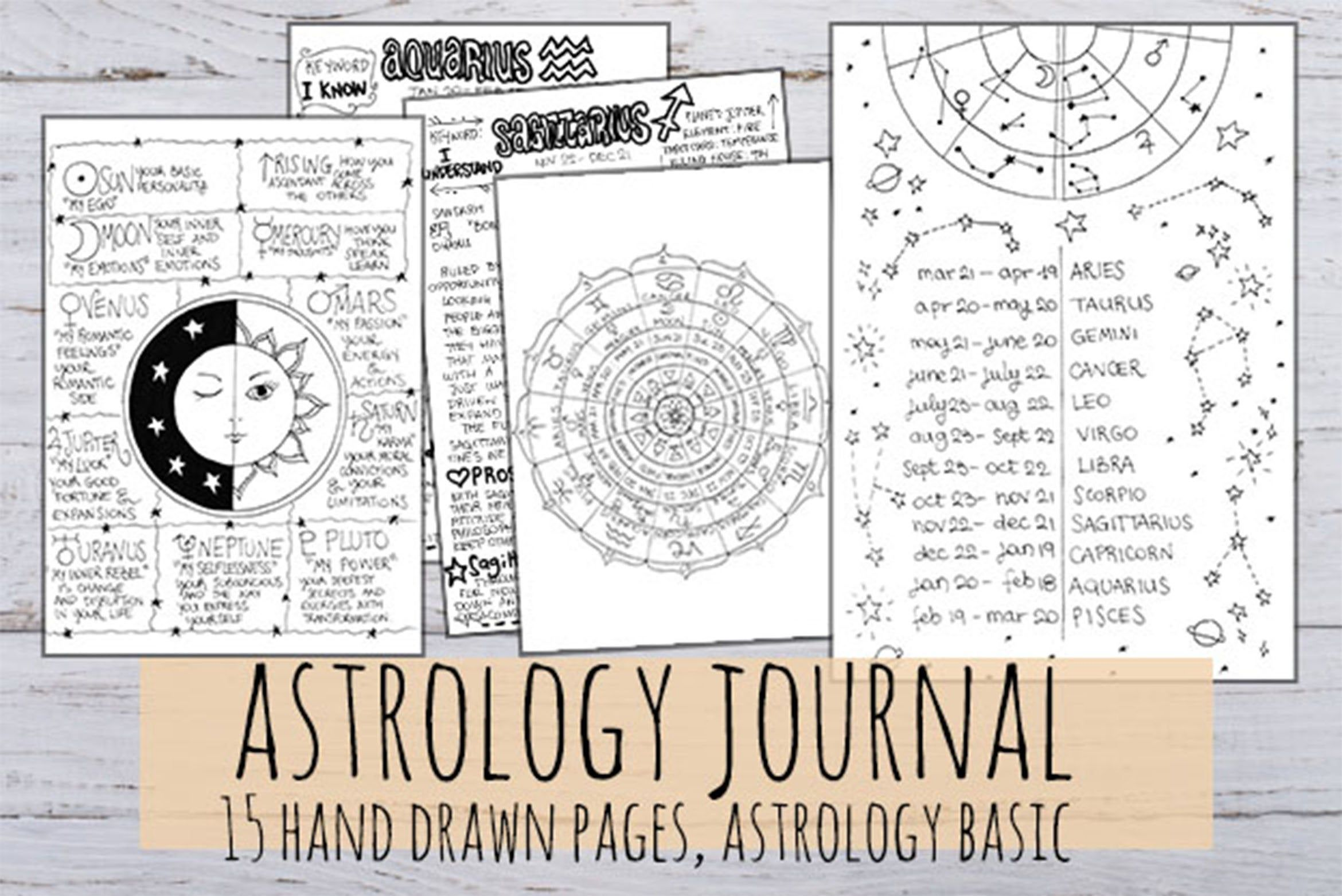 Astrology Journal 12 Signs And 3 Astro Cards Printable In 3