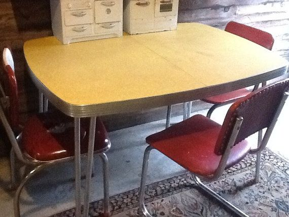 Table 1950 Yellow Formica Kitchen Chrome Legs By Thepuppydogtails