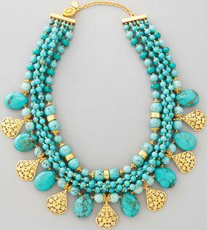 José & Maria Barrera Multi-Strand Turquoise & Gold Plate Necklace