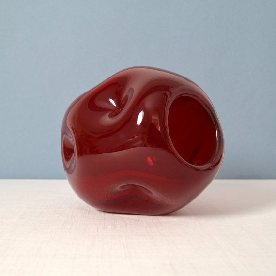 Vintage Blenko Indent Ball Ruby Vase 949 by Winslow Anderson