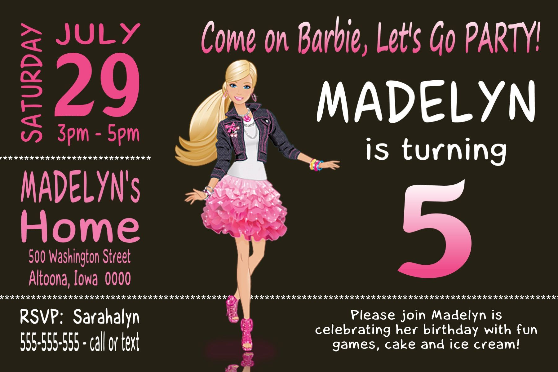 Custom Barbie Birthday Party Invitation Print at Home Digital File ...
