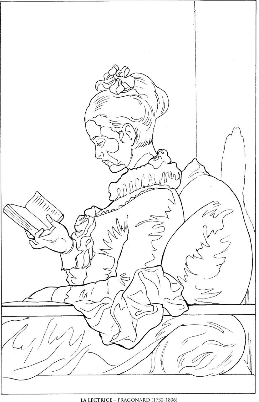 La Lectrice Fragonard Famous Paintings Coloring Pages Famous Art Coloring Coloring Book Art Line Art Drawings