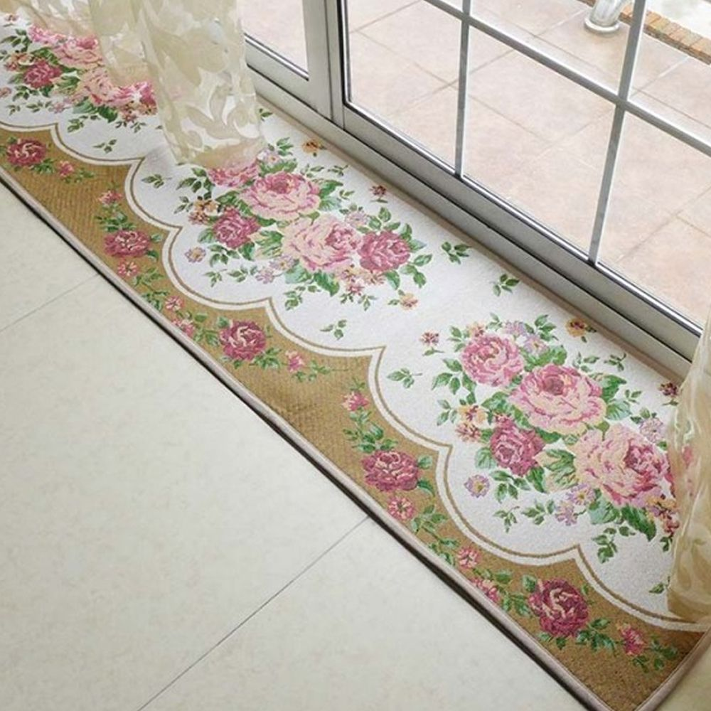 yazi European Flower Entrance Floor Rug Kitchen Long Carpet Anti ...
