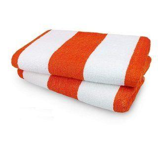 Kaufman Set Of 2 Orange Cabana Beach And Pool Towel 30 X 60