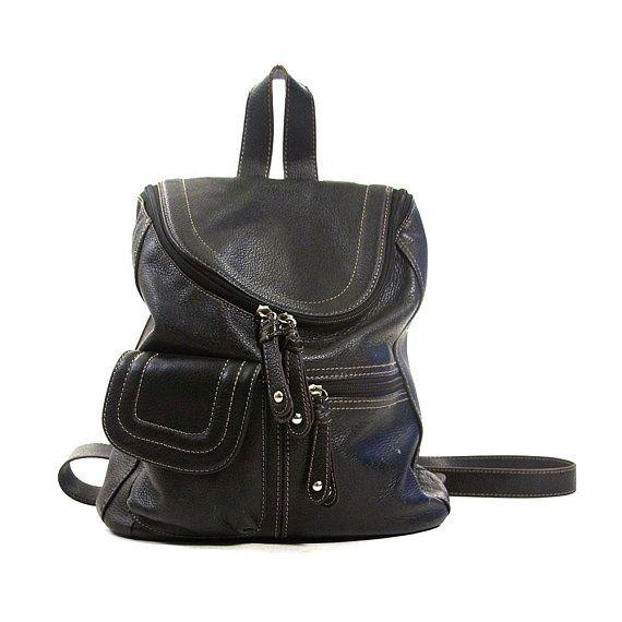 e9af506c9671 90s Black Leather Backpack Vintage Medium Small Tignanello Rucksack Boho  Grunge Hipster Soft Leather Bag with Pockets Adjustable Straps