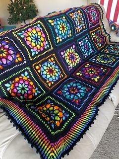 Stacy1220 S Stained Glass 2 Crochet Quilt Crochet Blanket