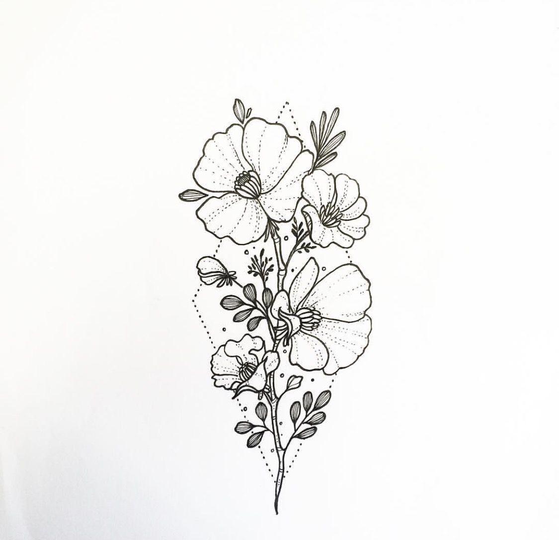 Flower Dibujo: Pin De Andrea Zepeda En Tats