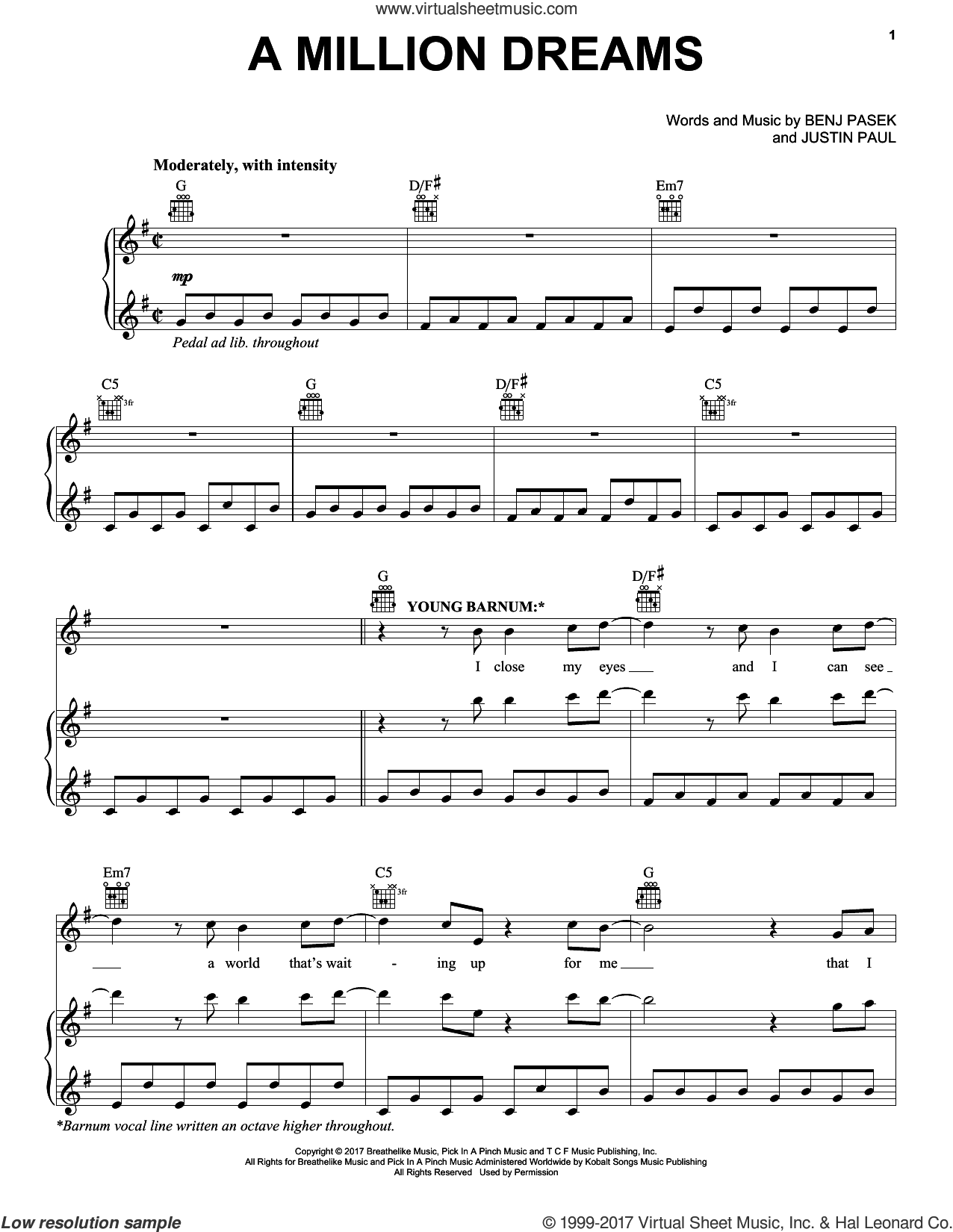 Paul A Million Dreams From The Greatest Showman Sheet Music For Voice Piano Or Guitar Sheet Music Blues Piano Piano Music