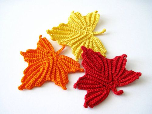 Maple Leaves Crochet Pattern By Goldenlucycrafts On Etsy Horgolt