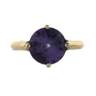 14K Gold Amethyst Round Ring - Fire & Ice