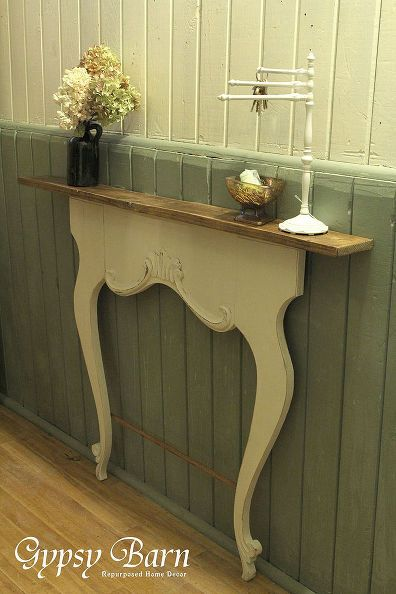 Repurposed washstand harps diy fireplace mantel for End of hallway ideas