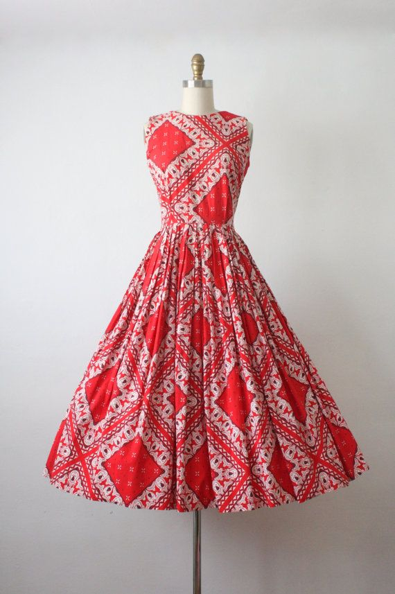 1950s dress / bandana print dress / 50s dress | Vestiditos, Moda ...