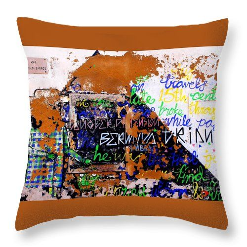 Throw Pillow featuring the Graffity He Was The First Guy photo by Dora Hathazi Mendes #graffity #homedecor #dorahathazi