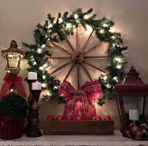 Wagon Wheel Wreath Christmas Door Decorations Western Christmas Xmas Decorations