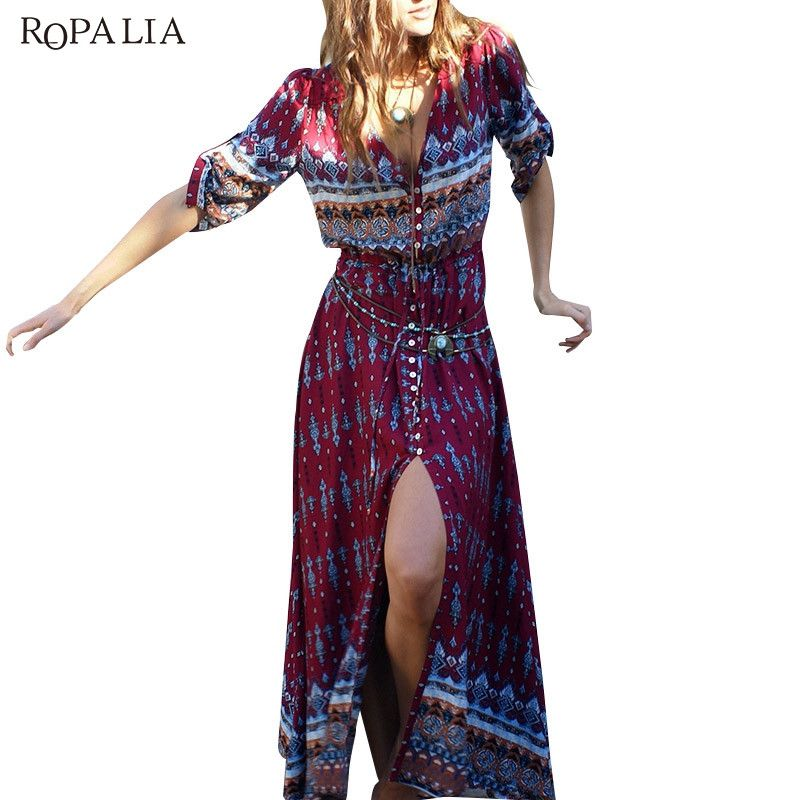 1b5e04a822 ROPALIA Boho Women Half Sleeve Floral Print V-neck Vintage Dress Casual  Summer Beach Long Maxi Dresses Vestidos Female Dress