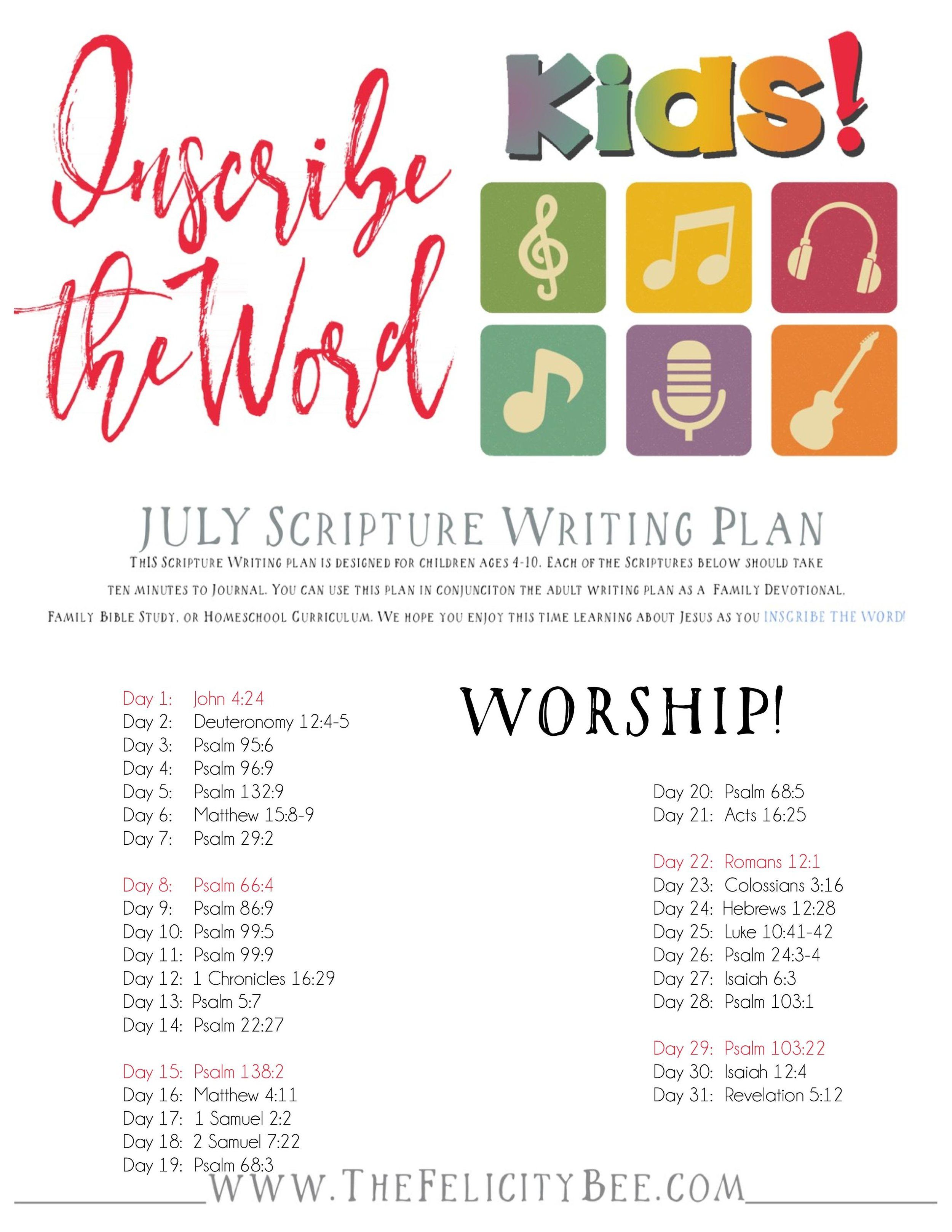 Inscribe the Word       July Scripture Writing Plan