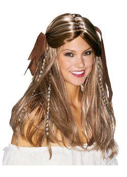 Merirosvoneidon peruukki. Sisältää laadukkaan pitkän peruukin helmillä ja hiusruseteilla.