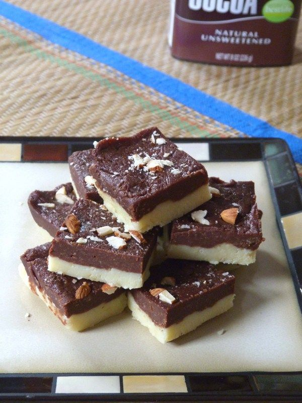 Chocolate burfi recipe - two layered burfi recipe. bottom layer is plain khoya barfi while the top layer is cocoa flavored chocolate burfi.