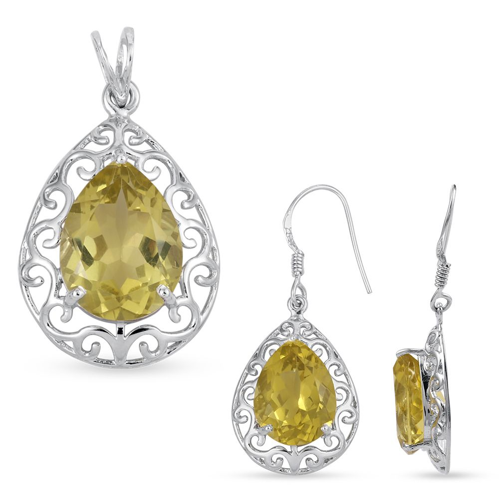 Pear shaped lemon quartz silver filigree hook earrings pendant set