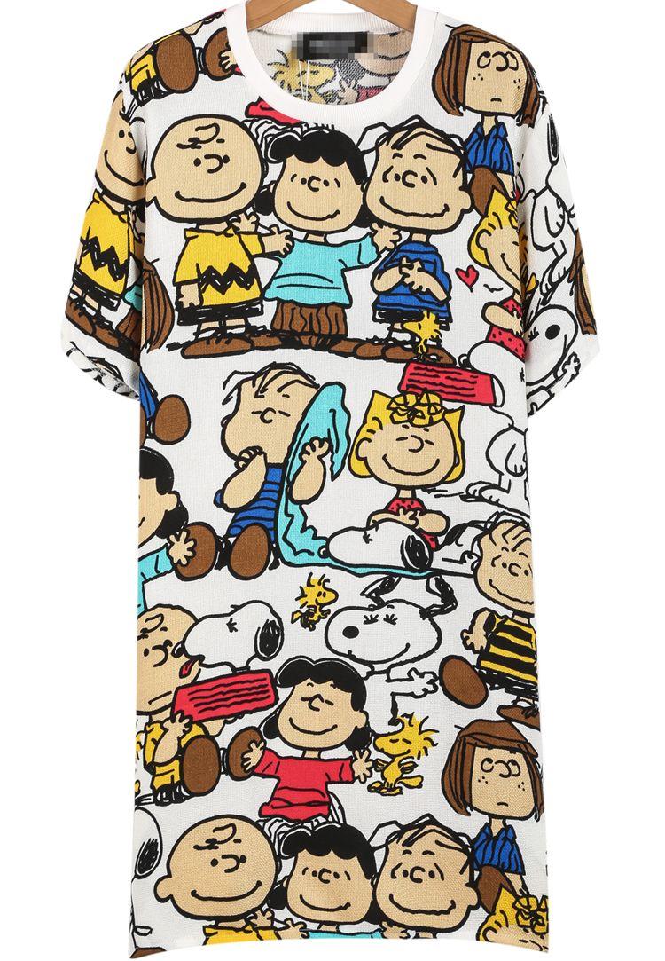 White Short Sleeve Snoopy Print Dress 20.00