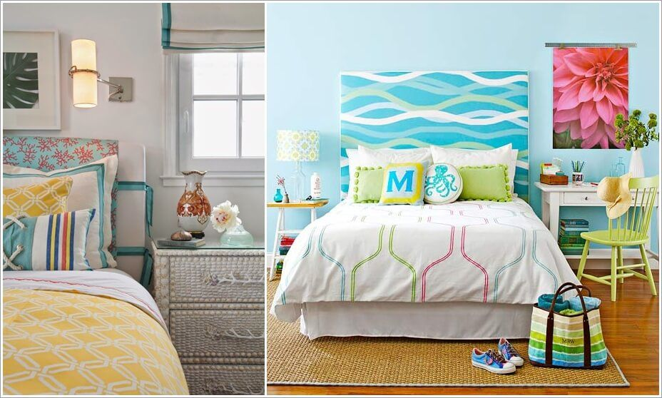 These DIY Coastal Fabric Headboards are a Pure Bliss