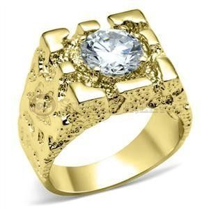 Size 12 Clear Brass Cubic Zirconia Gold Ring