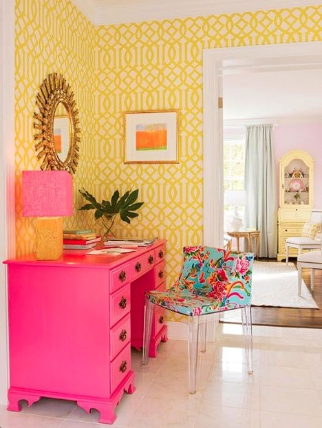 Get the look of this sunny yellow   pink workspace