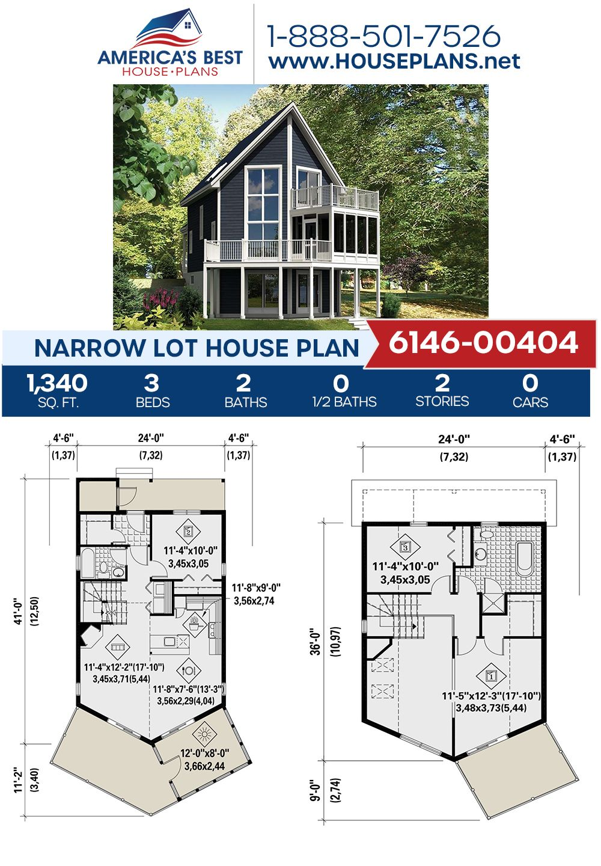 House Plan 6146 00404 Narrow Lot Plan 1 340 Square Feet 3 Bedrooms 2 Bathrooms In 2020 Narrow Lot House House Plans Narrow Lot House Plans
