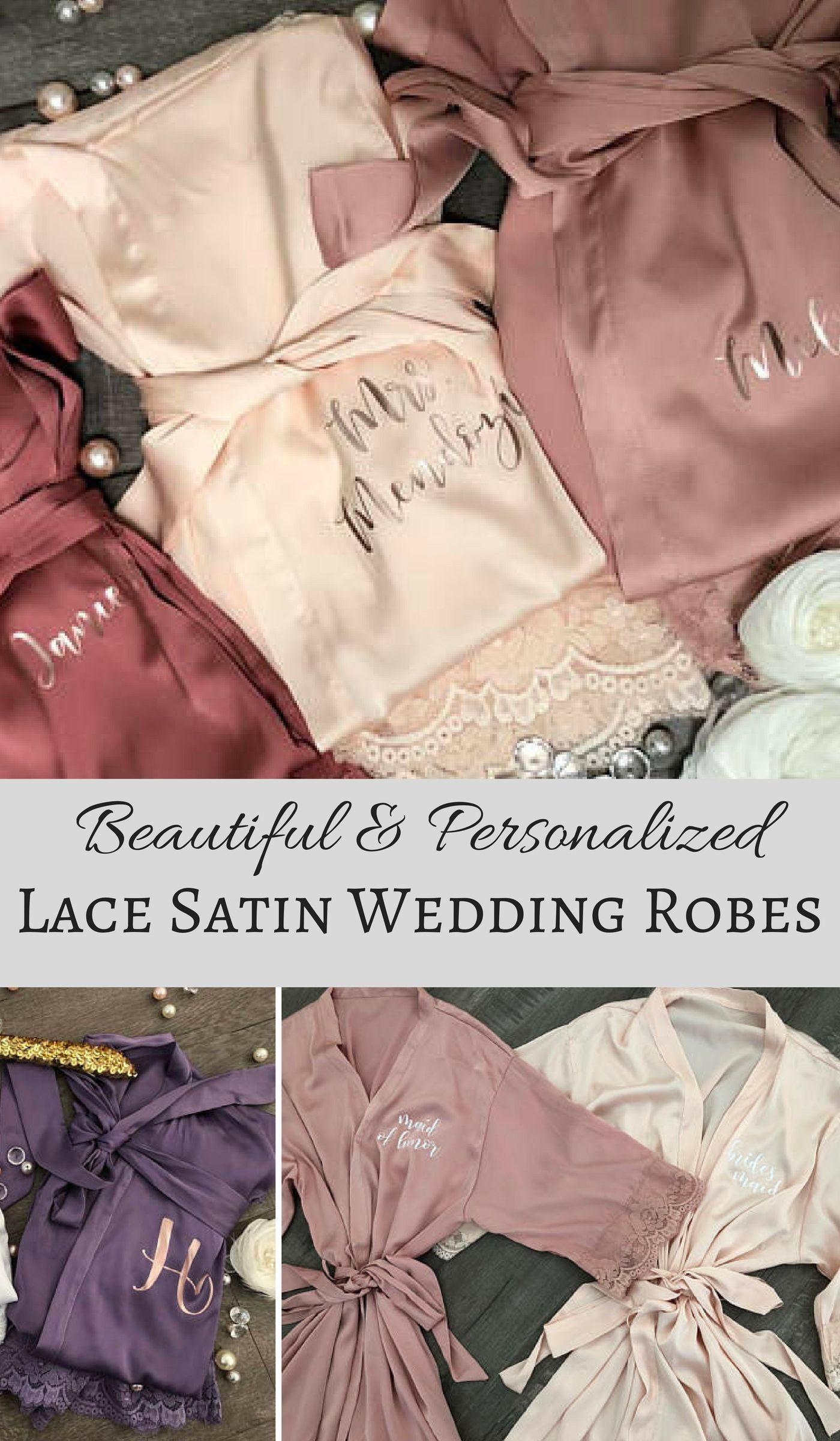 81d398a2a0ca Bridesmaid robes Set of 1,2,3,4,5,6,7,8,9,10,11,12,13,14 Bridesmaid  Gifts-Custom Wedding Robes-Gift for Bride-Satin Lace Robes-Bridal Robe  #affiliate ...