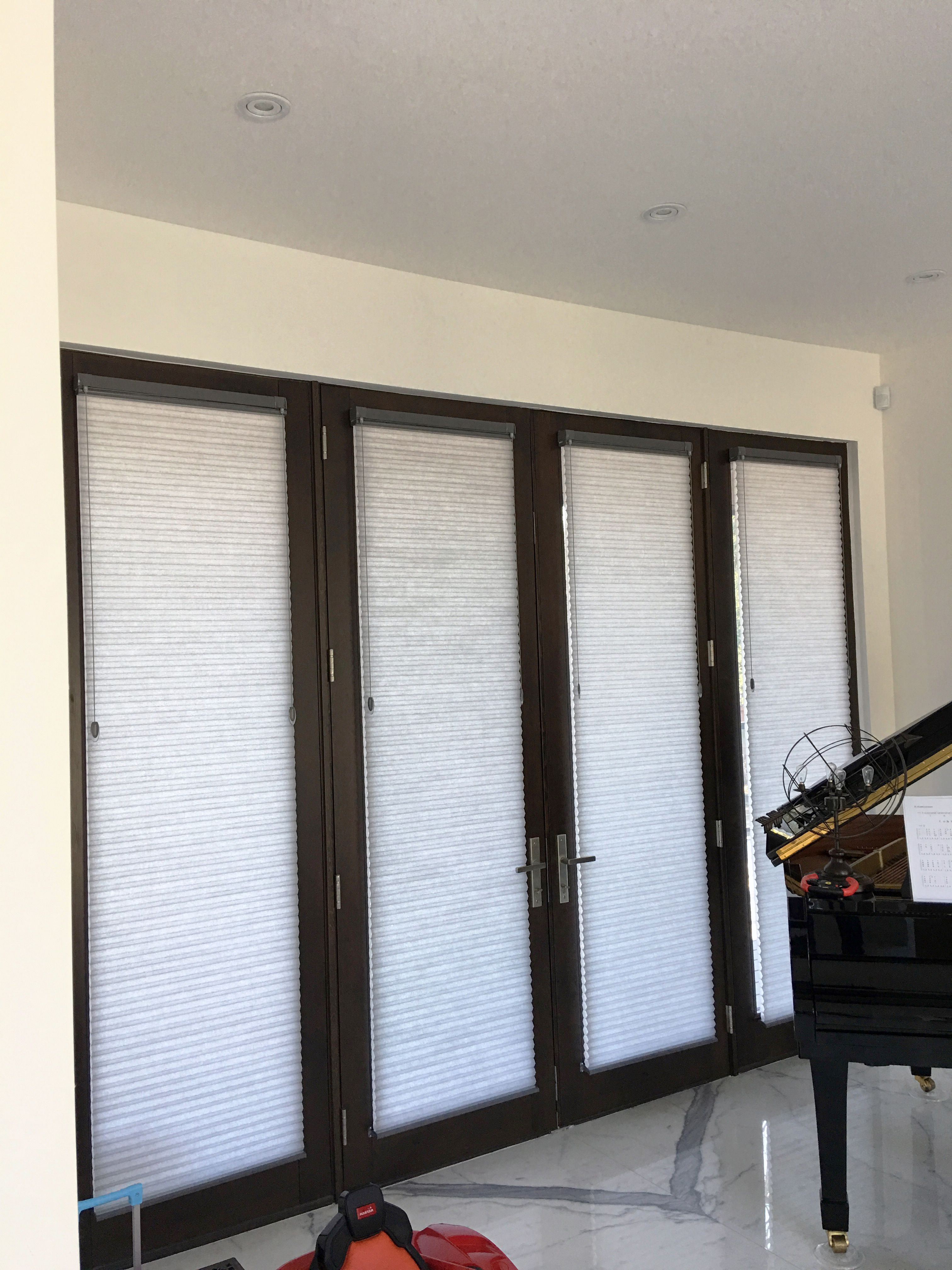 Honeycomb Shades On 4 Sections Glass Door Door Glass And Sidelight