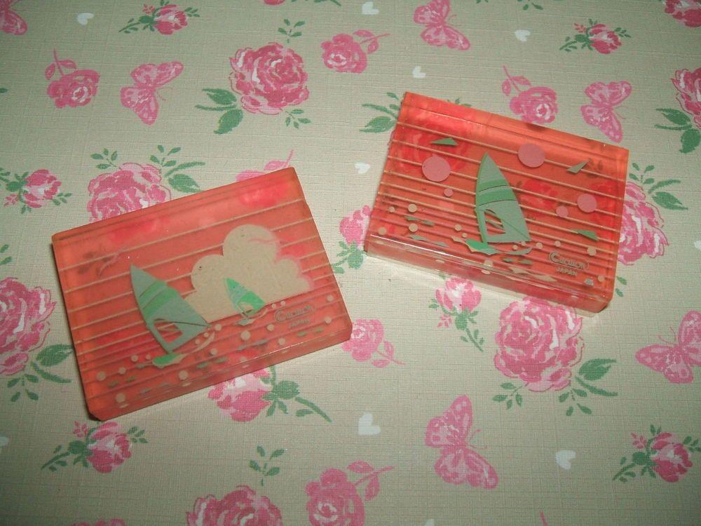 Rare Vintage 1980s Red Glitter Cased Falling Star Heart eraser rubber gomme