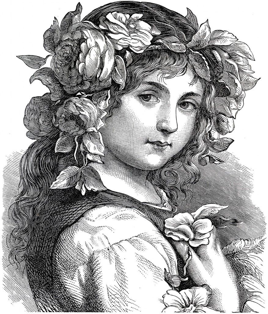 Gorgeous Antique Flower Girl Engraving! - The Graphics Fairy