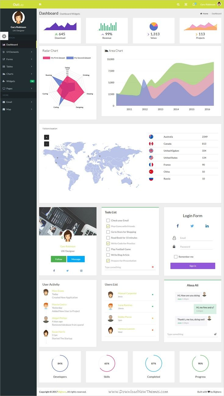 OutLay - Responsive Material Admin Template | Material design ...