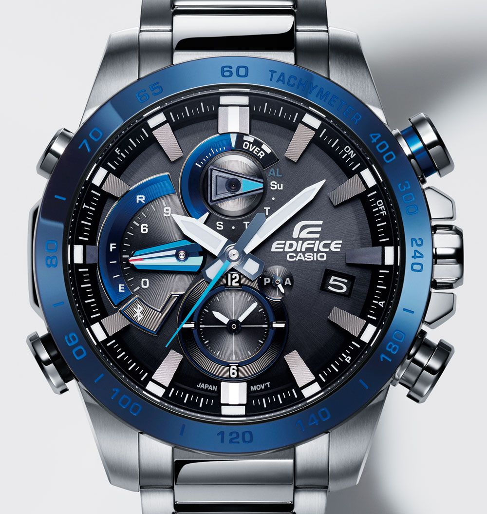 "The solar-powered Casio Edifice EQB800 is a motorsports-inspired piece with  ""Time Attack Recording"