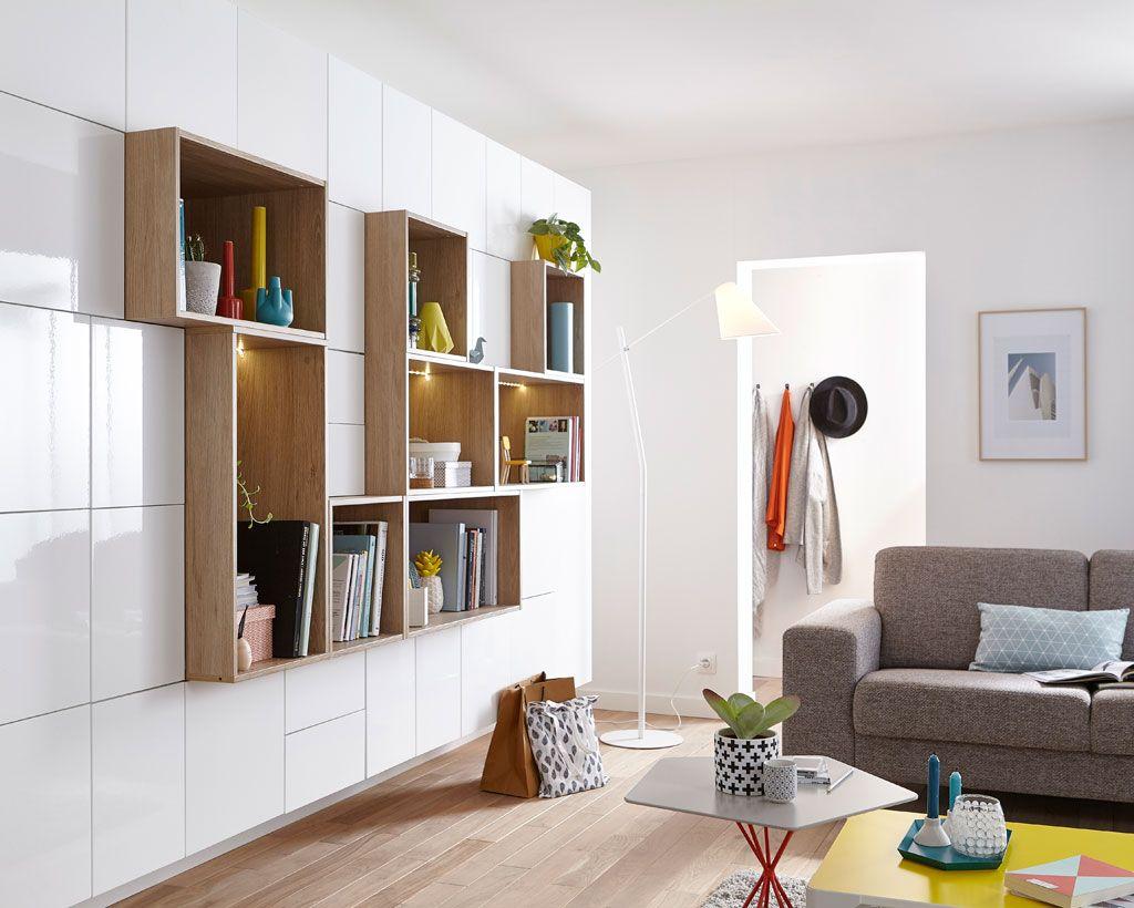 Un mur de rangement très discret | kitchen - living room ideas en ...