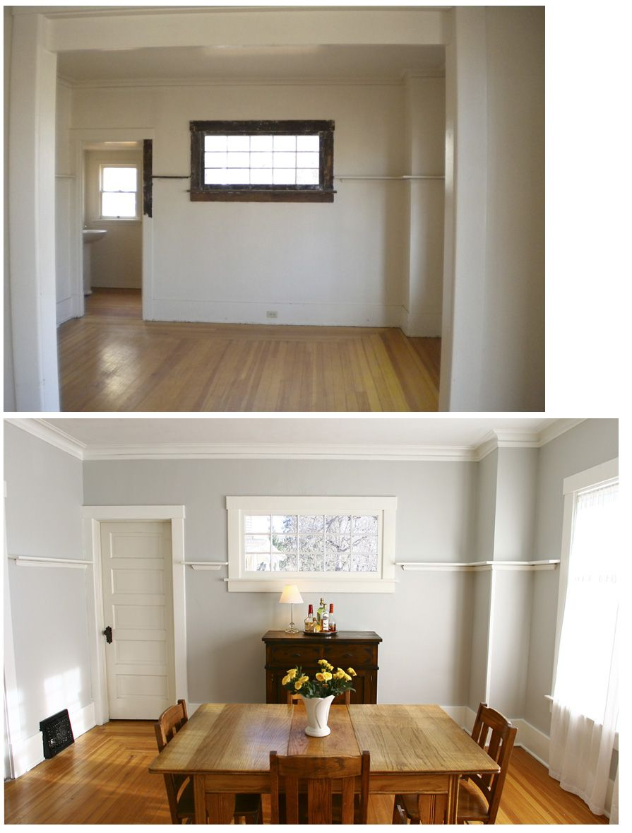 Dining Room Before And After Benjamin Moore Grey Owl