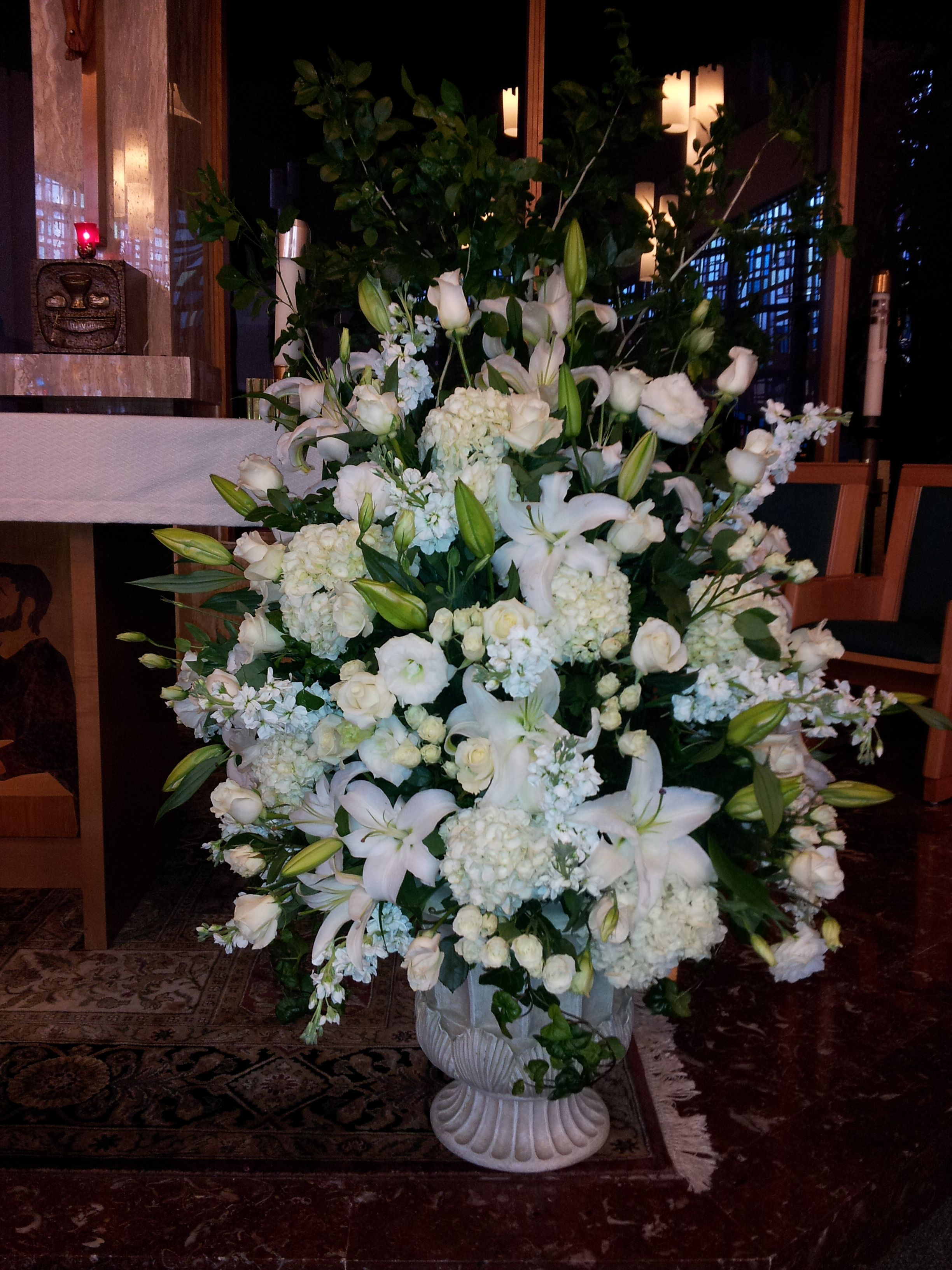 Altar Arrangement W Hydrangeas Lilies And Roses Catholic