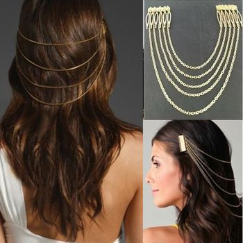 Fashion Jewelry PUNK style Hair Cuff Pin Head Band Chains tassels ...