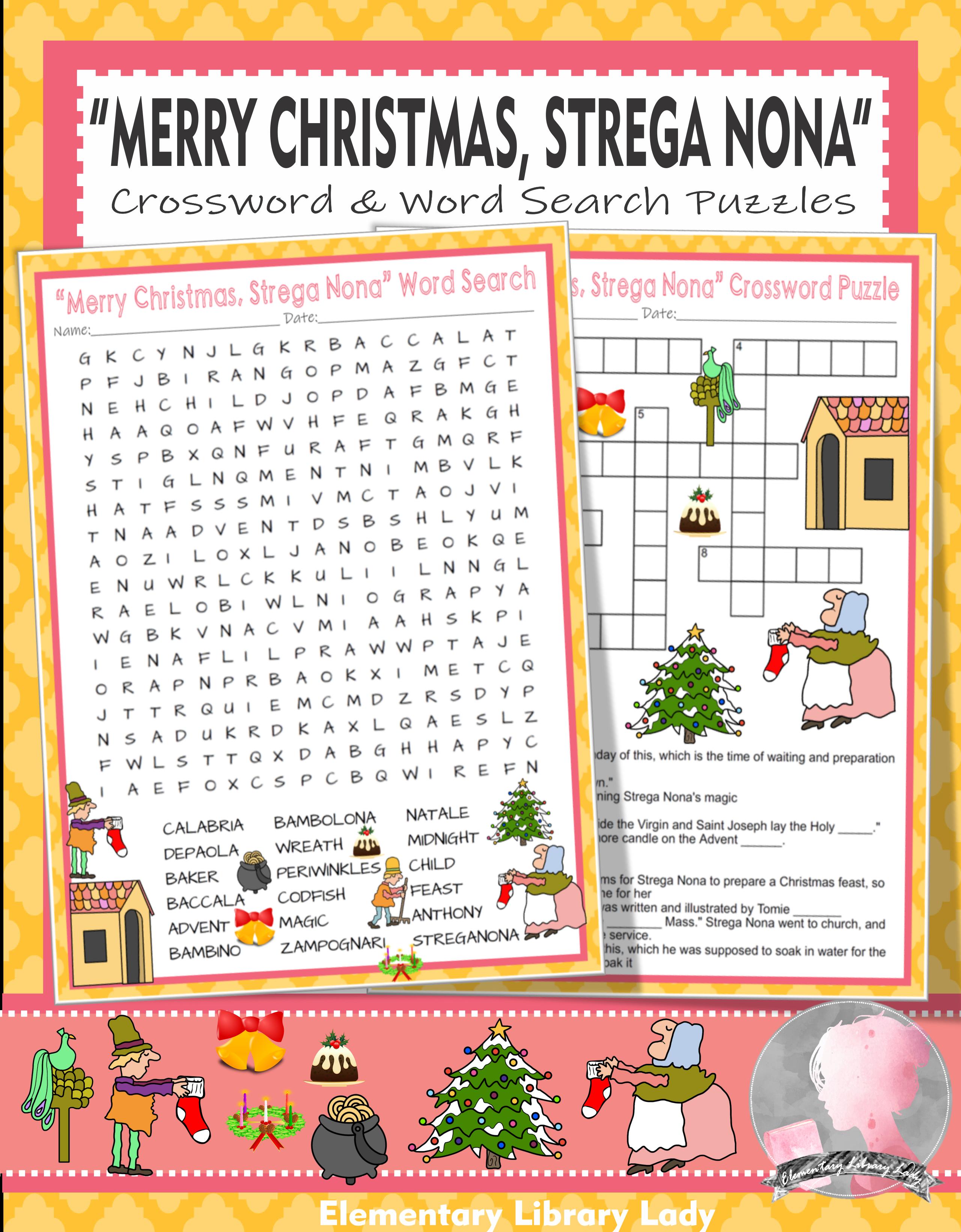 Merry Christmas Strega Nona Activities Depaola Crossword Puzzle Word Searches Strega Nona Word Bank E Words [ 3282 x 2560 Pixel ]