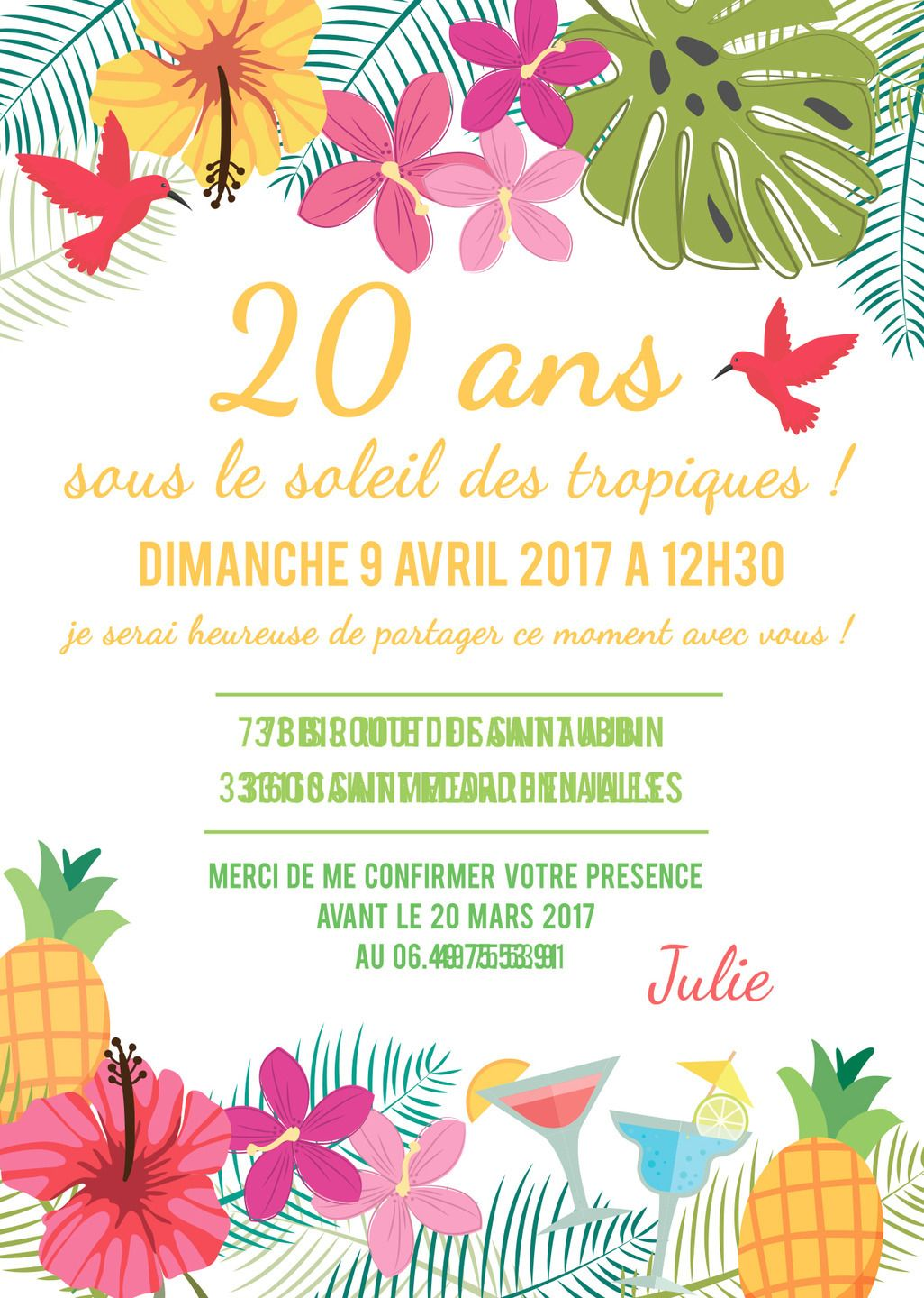 carte invitation anniversaire tropical anniversaires tropical et carte invitation anniversaire. Black Bedroom Furniture Sets. Home Design Ideas