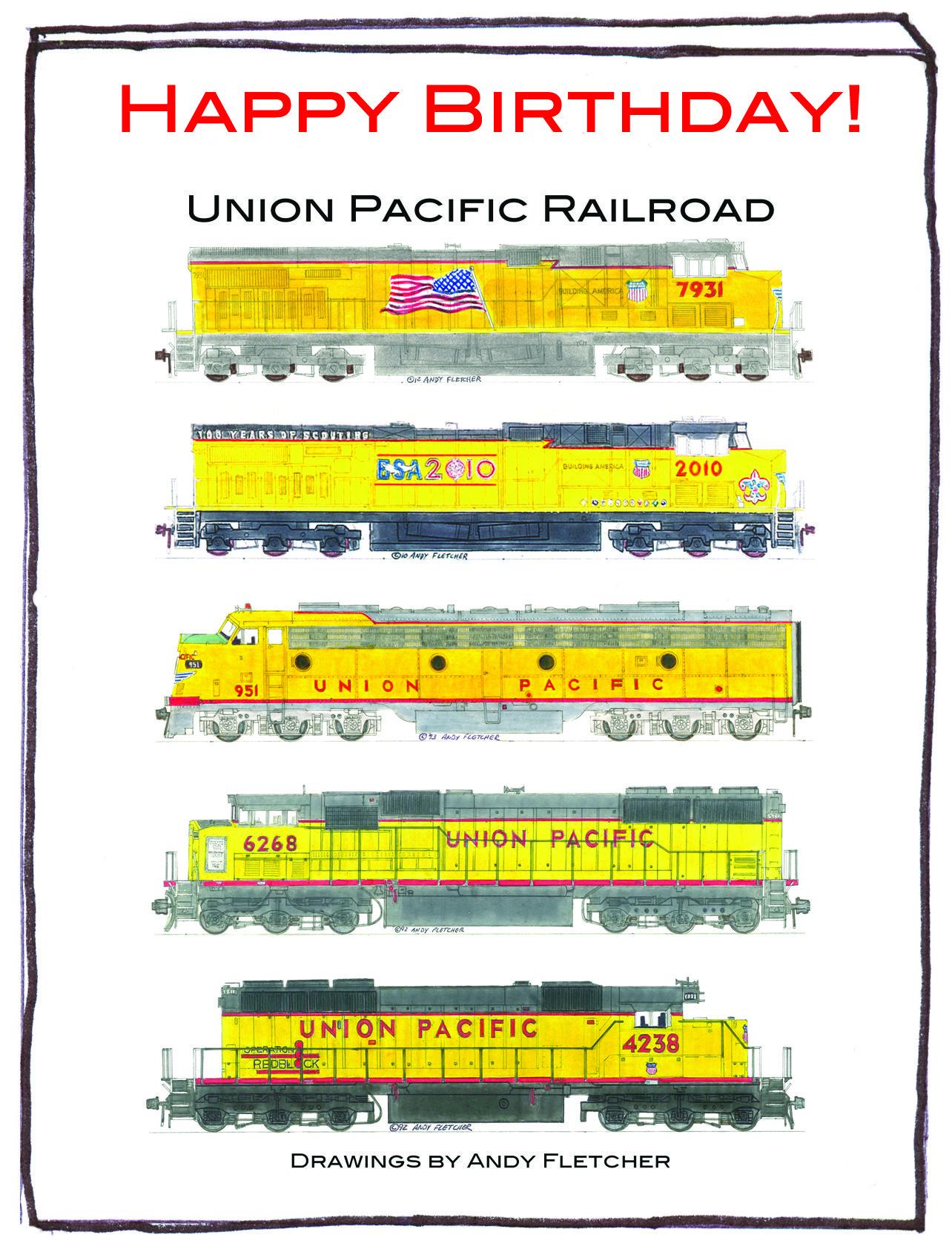 Birthday Postcards For Union Pacific Railroad Fans Train