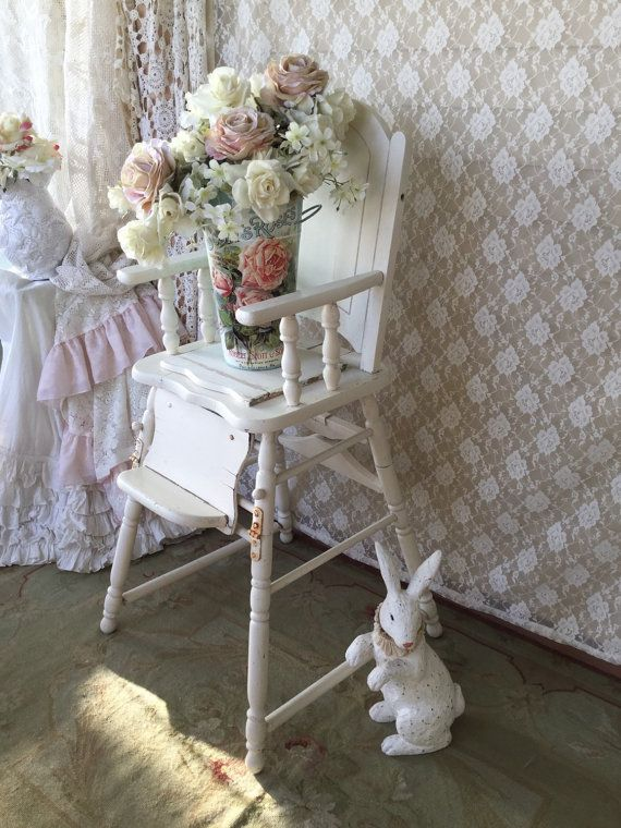 Liza Antique White Panel Bedroom Set: Shabby White Vintage High Chair/ Potty Chair, Baby Chair