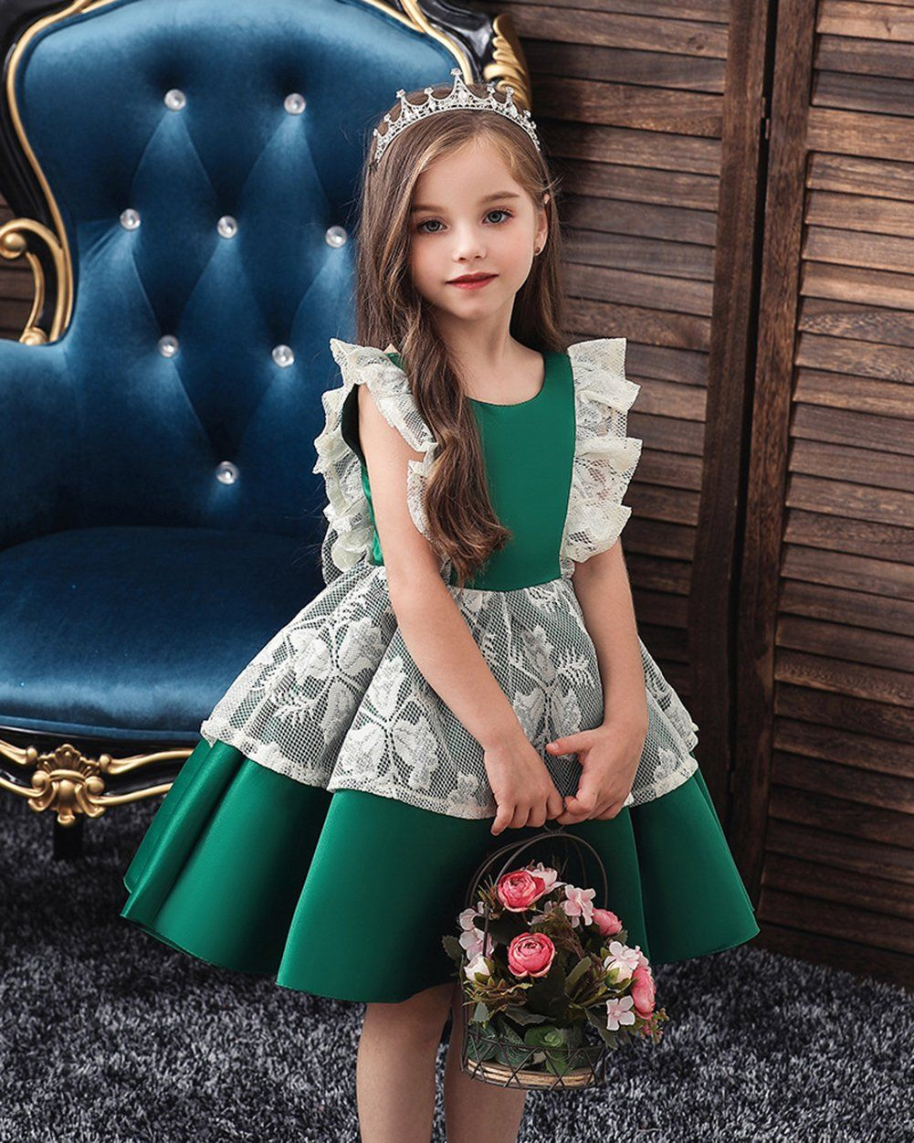 Baby Girls Colorful Backless Birthday Party Dress Flower Dress